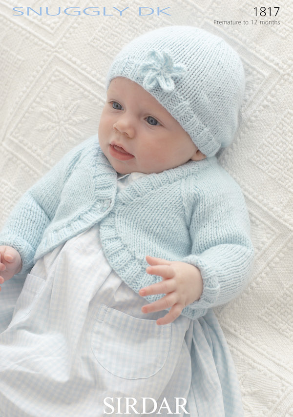 Sirdar Snuggly DK 1817 Bolero Cardigan & Hat with Premature Size